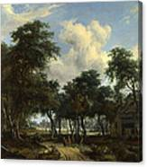 A Woody Landscape With A Cottage Canvas Print