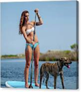 A Young Woman And Her Dog Sup Canvas Print