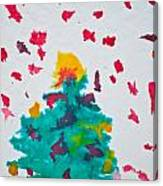 Abstract Kid's Painting Of Christmas Tree With Gifts Canvas Print