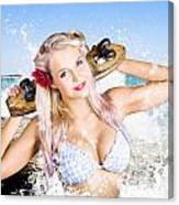 Active Sexy Summer Beach Babe With Skateboard Canvas Print