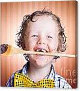 Adorable Little Boy Cooking Chocolate Easter Cake Canvas Print