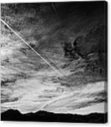 Aircraft Contrail With Shadow On Lower Cloud Nevada Usa Canvas Print