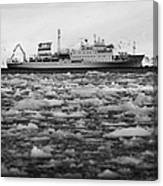 Akademik Sergey Vavilov Russian Research Ship In Port Lockroy As Brash Sea Ice Forming Winter Closin Canvas Print