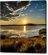 Alaskan Midnight Sun Over The Lake Canvas Print