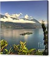 Alpine Lake With Island Canvas Print