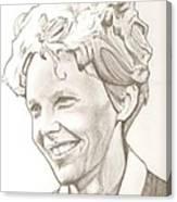 Amelia Earhart Drawing Canvas Print