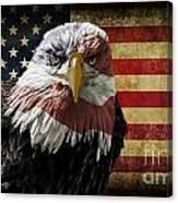 American Bald Eagle On Grunge Flag Canvas Print
