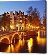 Amsterdam - Old Houses At The Keizersgracht In The Evening Canvas Print