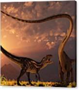 An Allosaurus In A Deadly Battle Canvas Print