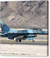 An F-16c Aggressor Jet Landing Canvas Print