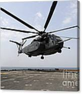 An Mh-53e Sea Dragon Prepares To Land Canvas Print