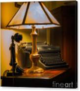 Antique Lamp Typewriter And Phone Canvas Print