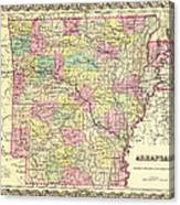 Antique Map Of Arkansas 1855 Canvas Print