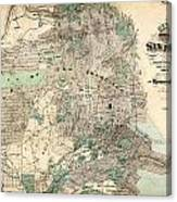 Antique Map Of City And County Of San Francisco Canvas Print