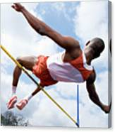 Athlete Performing A High Jump Canvas Print