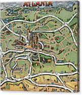 Atlanta Cartoon Map Canvas Print