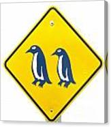 Attention Blue Penguin Crossing Road Sign Canvas Print