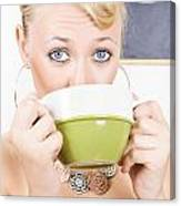 Attractive Blonde Woman Drinking Green Tea Canvas Print