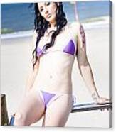 Attractive Girl On The Beach Canvas Print