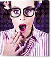 Attractive Young Nerd Girl With Surprised Look Canvas Print
