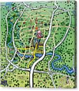 Austin Texas Cartoon Map Canvas Print