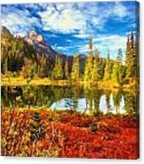 Autumn Comes To The Lake And Mountains Canvas Print