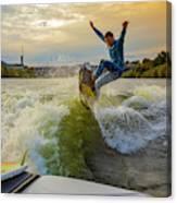 Autumn Wake Surfing Canvas Print