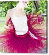 Ballerina Stretching And Warming Up Canvas Print