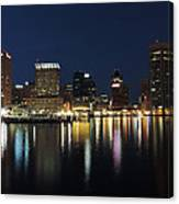 Baltimore Skyline At Dusk On The Inner Harbor Canvas Print