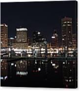 Baltimore Skyline At Night Canvas Print