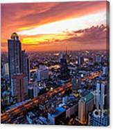 Bangkok City Skyline Sunset Canvas Print