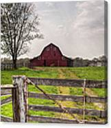 Barn By A Fence Canvas Print