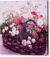 Basket Of Baby Roses Canvas Print