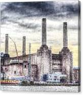 Battersea Power Station London Snow Canvas Print