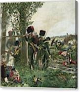 Battle Of Waterloo Troops Of The Nassau Canvas Print