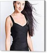 Beautiful Model With Long Straight Brunette Hair Canvas Print
