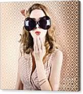 Beautiful Surprised Girl Wearing Big Sunglasses Canvas Print