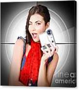 Beautiful Woman Holding Home Video Camera Canvas Print