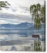 Bench With Trees On A Flooding Alpine Lake Canvas Print