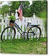 Bicycle And White Fence Canvas Print