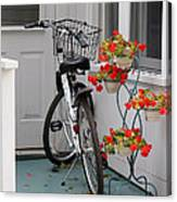 Bicycles And Geraniums Canvas Print