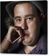 Big Mob Boss Smoking Cigarette Dark Background Canvas Print