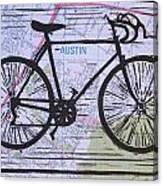 Bike 8 On Map Canvas Print