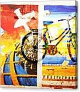 Biking In Bejing Canvas Print