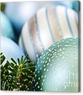 Blue Christmas Ornaments Canvas Print