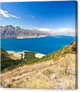 Blue Surface Of Lake Hawea In Central Otago In New Zealand Canvas Print