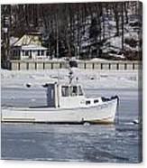Boat And Ice Hobart Beach Ny Canvas Print