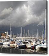 Boats In A Marina Canvas Print