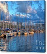 Boats In The Harbor Of Barcelona Canvas Print