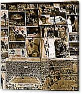 Boxing Collage Virginian Hotel Saloon Medicine Bow Wyoming 1971-2008 Sepia Toned Canvas Print